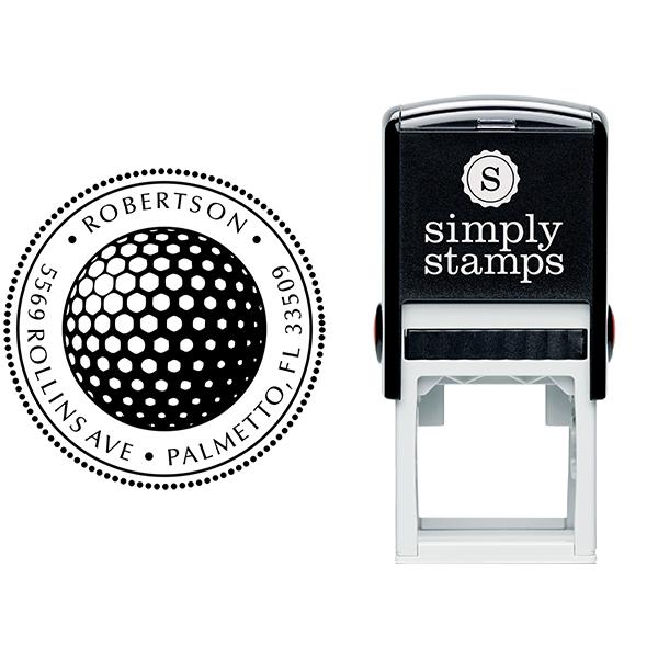 Golf Ball Round Address Stamp - Self-Inking Body and Design