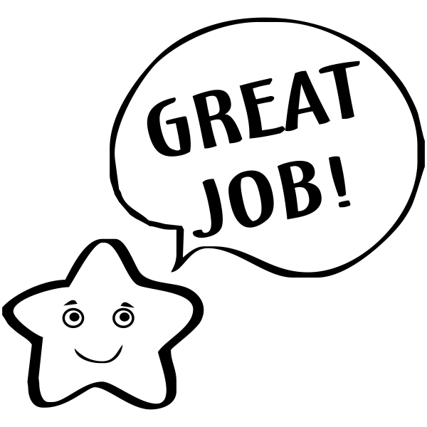 Feedback - GREAT JOB! Smiley Star Rubber Teacher Stamp