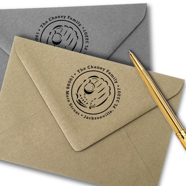 Baseball and Glove Address Stamp Imprint Example