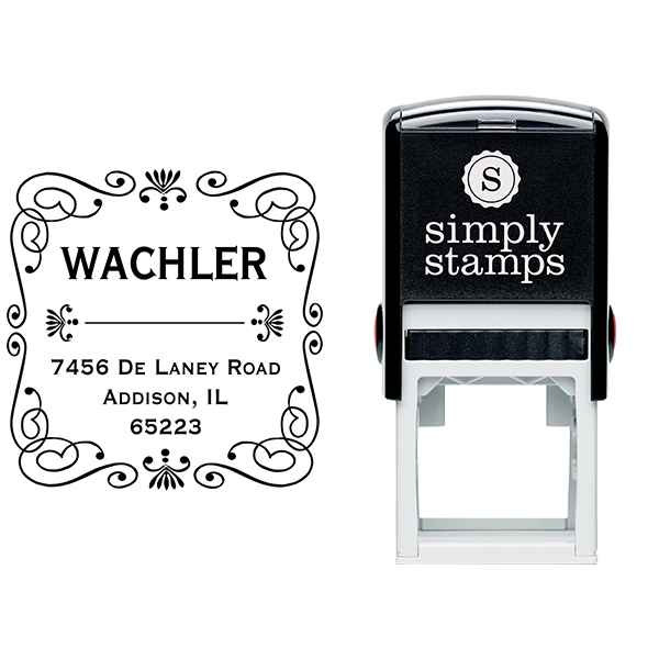 Wachler Curves Square Address Stamp Body and Design