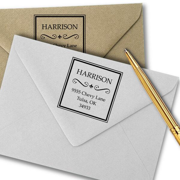 Harrison Curves Square Address Stamp Imprint Examples on Envelopes
