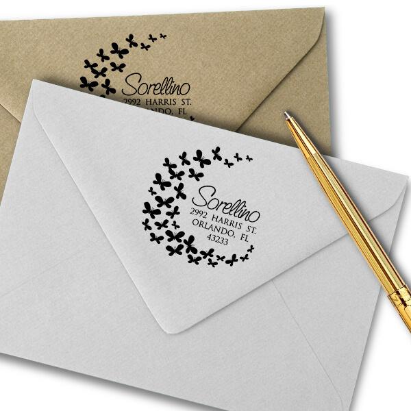 Butterflies Round Address Stamp Imprint Example