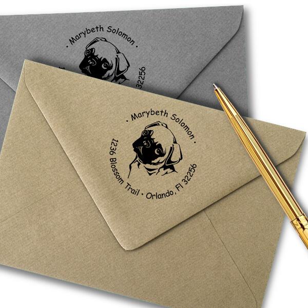 Cute Pug Dog Return Address Stamp Imprint Example