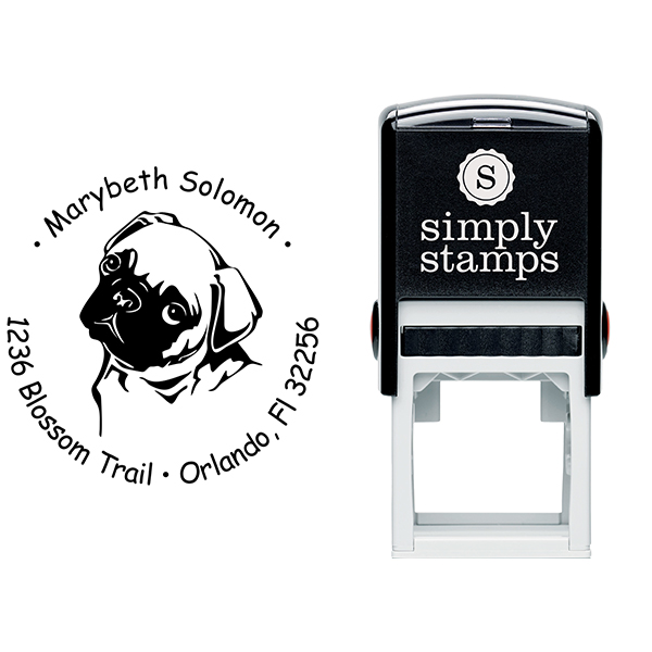Cute Pug Dog Return Address Stamp Body and Design