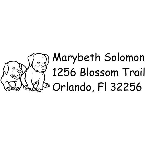 Cute Puppy Dog return address rubber stamp