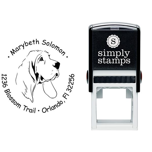 Bloodhound Dog Return Address Stamp Body and Design
