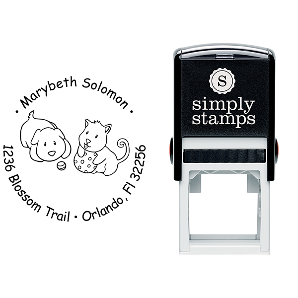 Puppies Playing Return Address Stamp Body and Design
