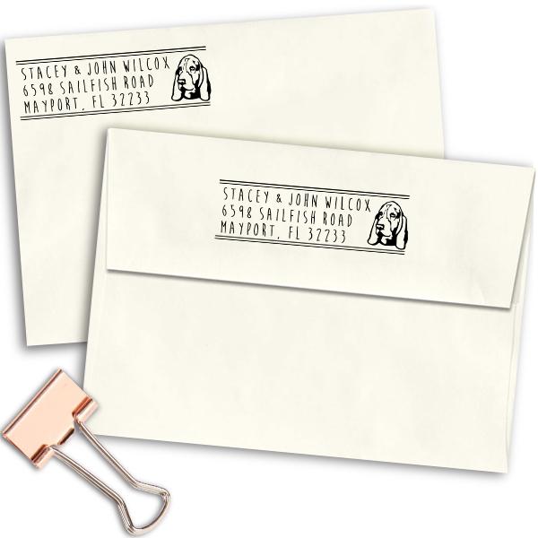 Basset Hound Dog Address Stamp Imprint Example