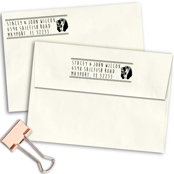 Bloodhound Dog Address Stamp Imprint Example