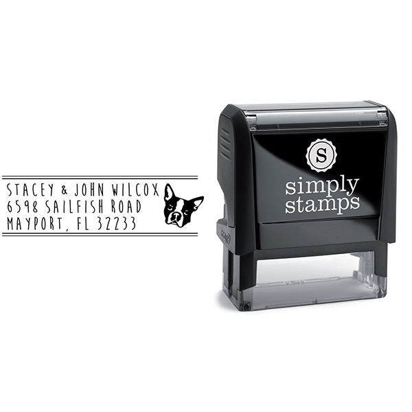 Boston Terrier Dog Address Stamp Body and Design