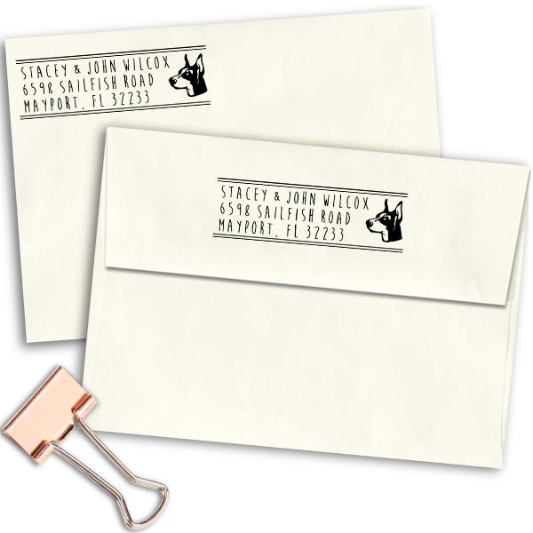 Pinscher Dog Address Stamp Imprint Example