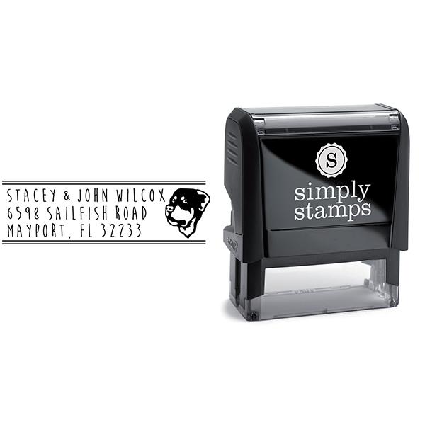 Rottweiler Dog Address Stamp Body and Design
