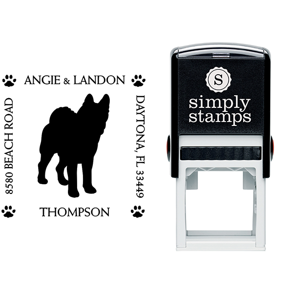 Akita Pet Lover Dog Return Address Stamp Body and Design