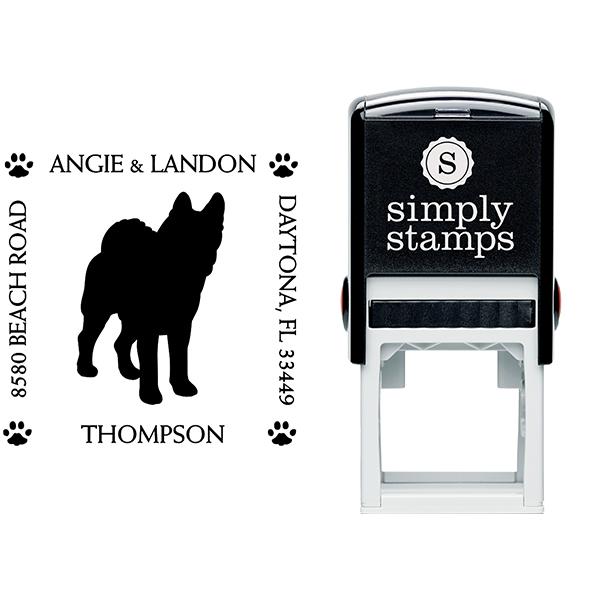 Akita Pet Lover Dog Return Address Stamp Body and Design