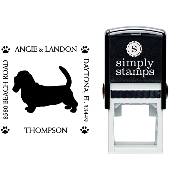 Basset Hound Pet Lover Dog Return Address Stamp Body and Design