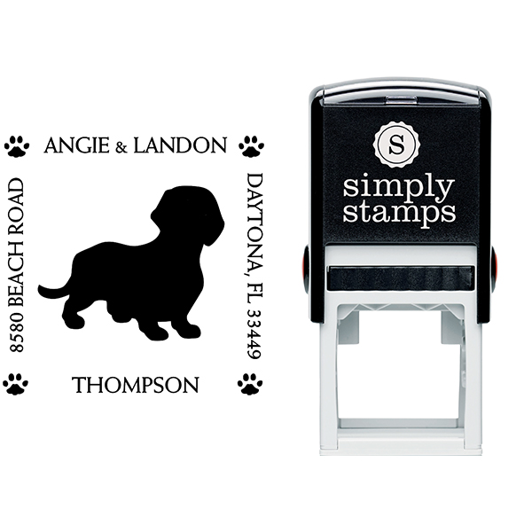 Dachshund Pet Lover Return Address Stamp Body and Design