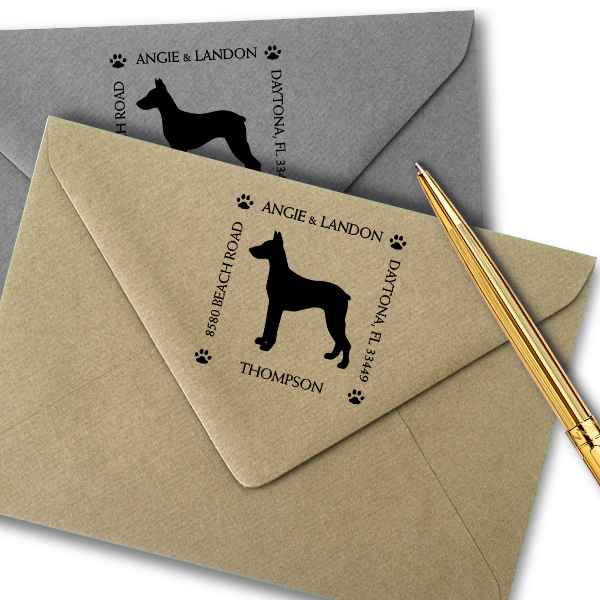 Doberman Pinscher Pet Lover Dog Return Address Stamp Imprint Example