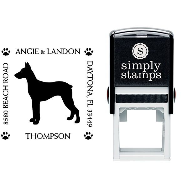 Doberman Pinscher Pet Lover Dog Return Address Stamp Body and Design