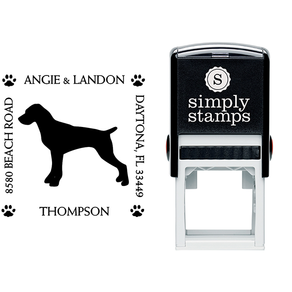 Pointer Pet Lover Dog Return Address Stamp Body and Design