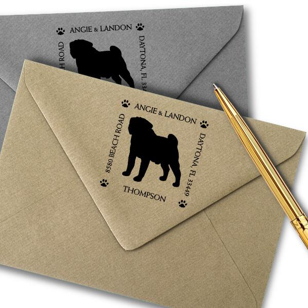 Pug Pet Lover Dog Return Address Stamp Imprint Example