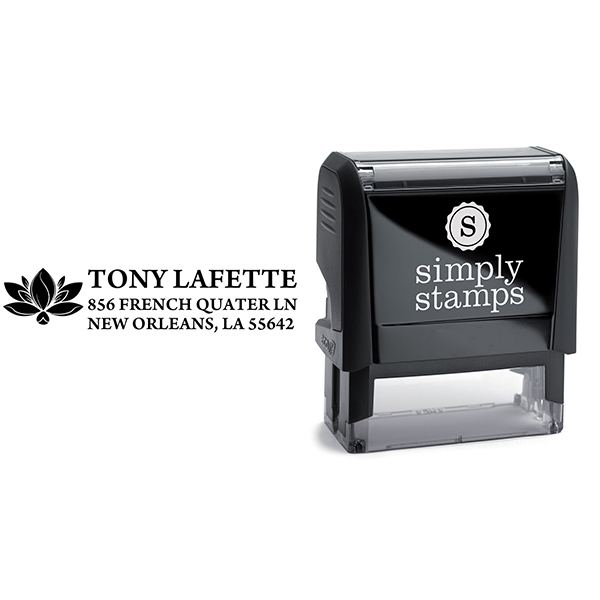 Lotus Blossom Custom Return Address Rubber Stamp Body and Design