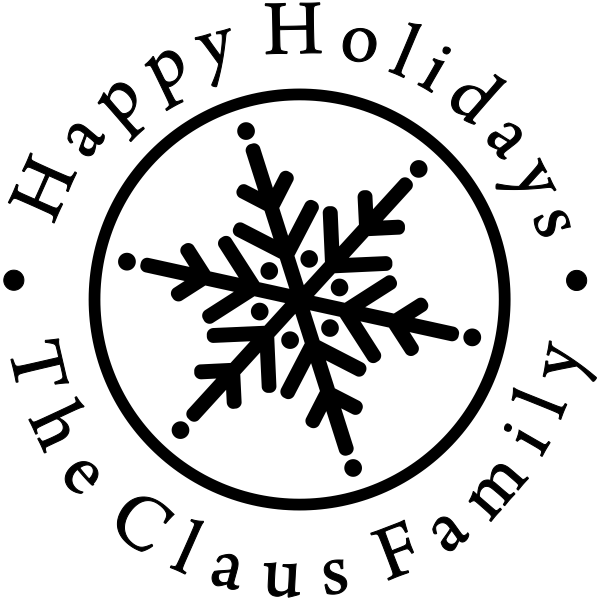 Happy Holidays Snowflake Rubber Stamp
