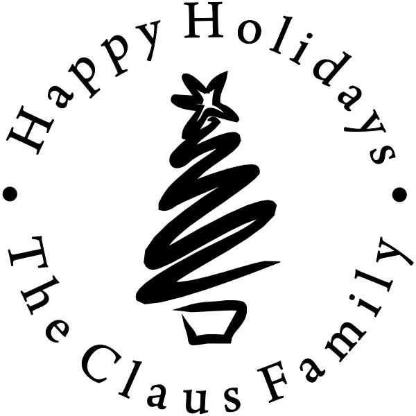 Happy Holidays Bold Brush Stroke Tree Rubber Stamp