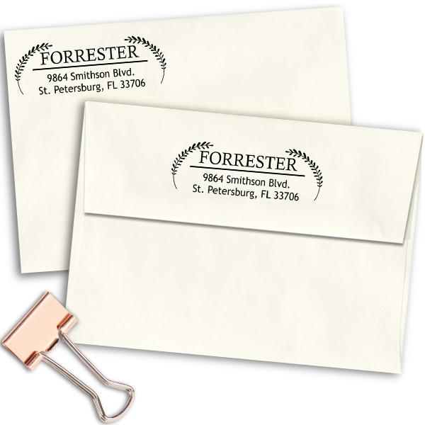 Forrester Double Leaf Address Stamp Imprint Examples on Envelopes