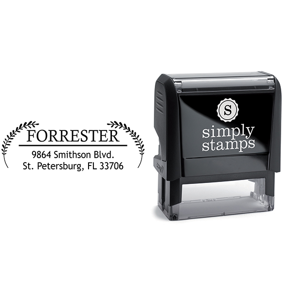 Forrester Double Leaf Address Stamp Body and Imprint