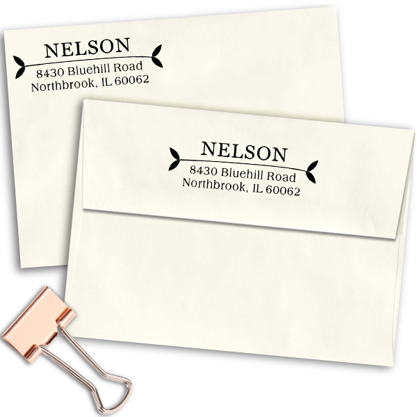Nelson Leafy Ends Address Stamp Imprint Example