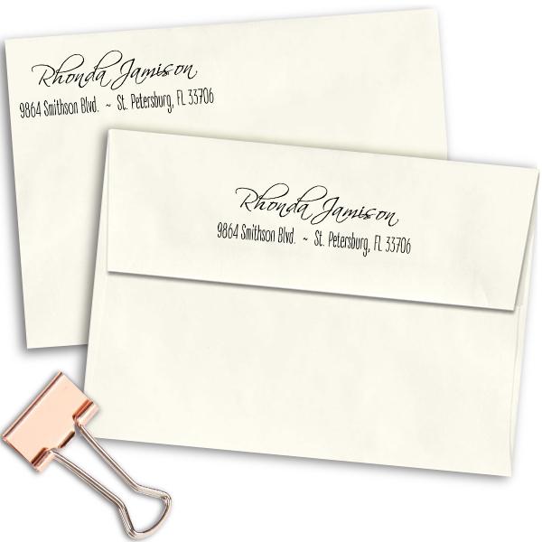 Jamison Cursive Address Stamp Imprint Examples on Envelopes