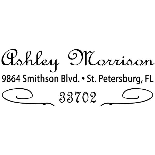 Morrison Deco Cursive Return Address Stamp