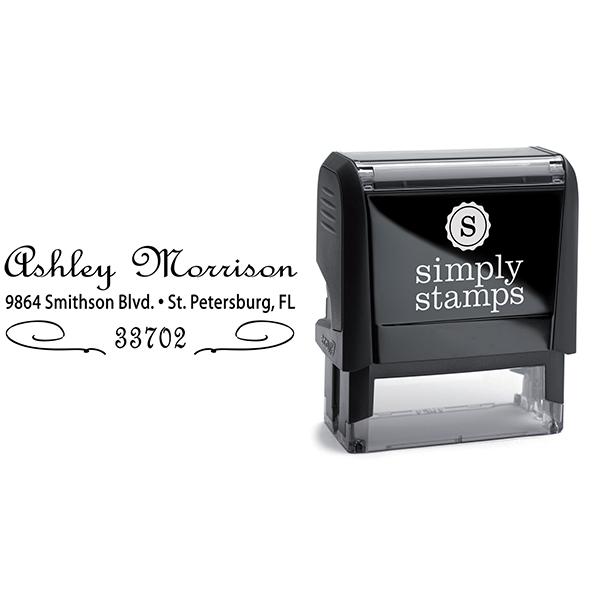 Morrison Deco Cursive Address Stamp Body and Design
