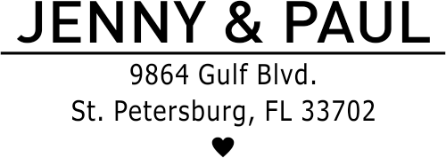 First Name Heart Return Address Stamp