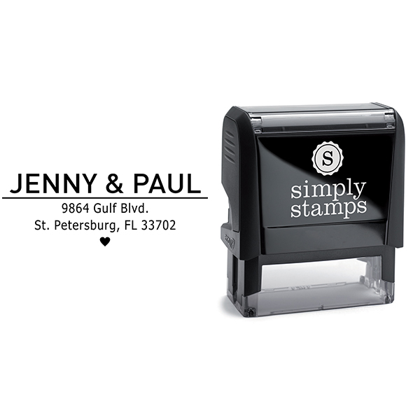 First Names Line Heart Address Stamp Body and Imprint