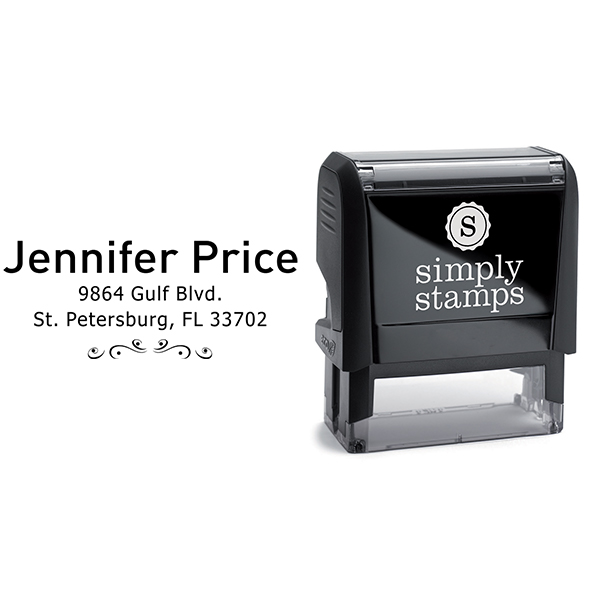 Price 3 Line Deco Return Address Stamp Body and Design