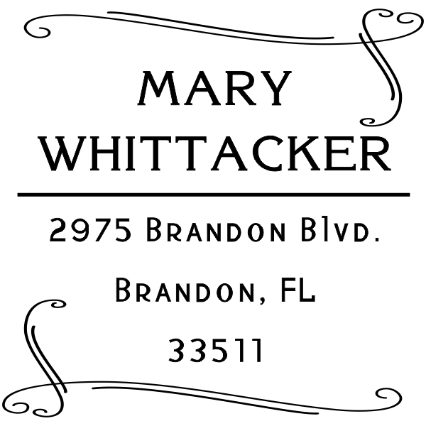 Whittaker Double Heart Border Address Stamp