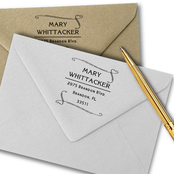 Whittaker Double Heart Border Address Stamp Imprint Example