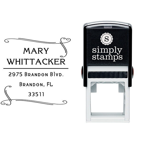 Whittaker Double Heart Border Address Stamp Body and Design