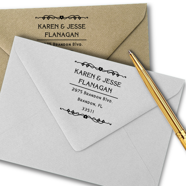 Flanagan Heart Deco Address Stamp Imprint Example