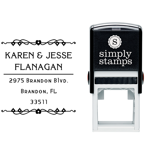 Flanagan Heart Deco Address Stamp Body and Design