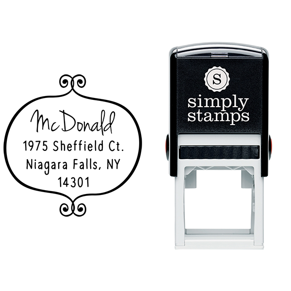 McDonald Curly Q Return Address Stamp Body and Design