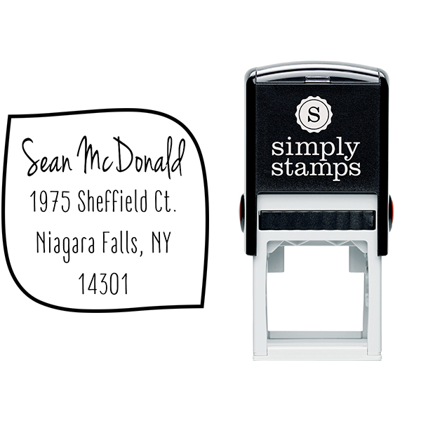 McDonald 4 Line Border Address Stamp Body and Imprint