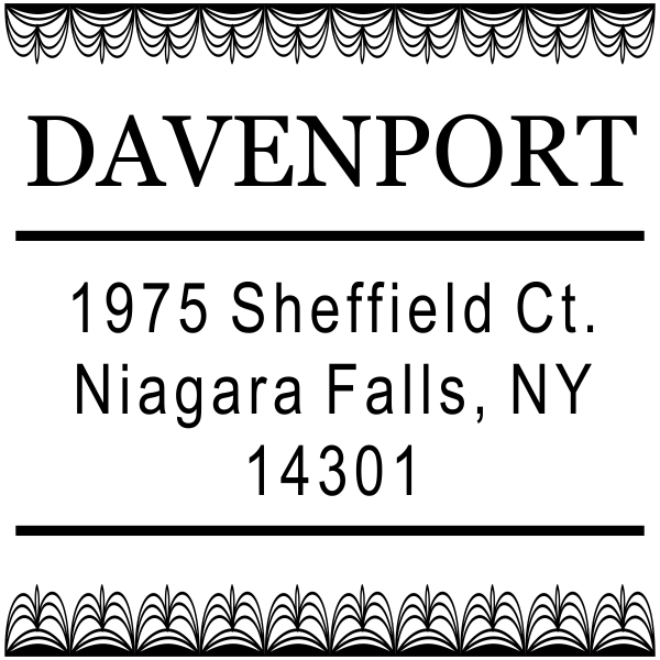 Davenport Deco Curtain Address Stamp