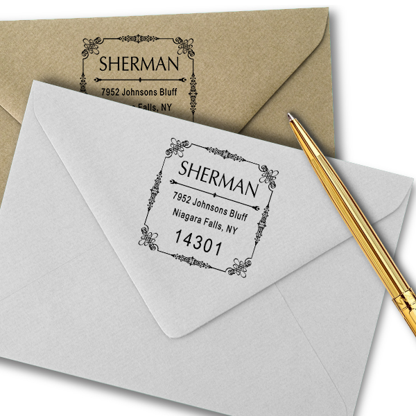 Vintage Deco Border Return Address Stamp Imprint Examples on Envelopes