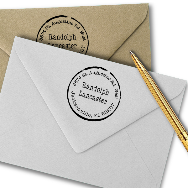 Lancaster Round Border Address Stamp Imprint Example