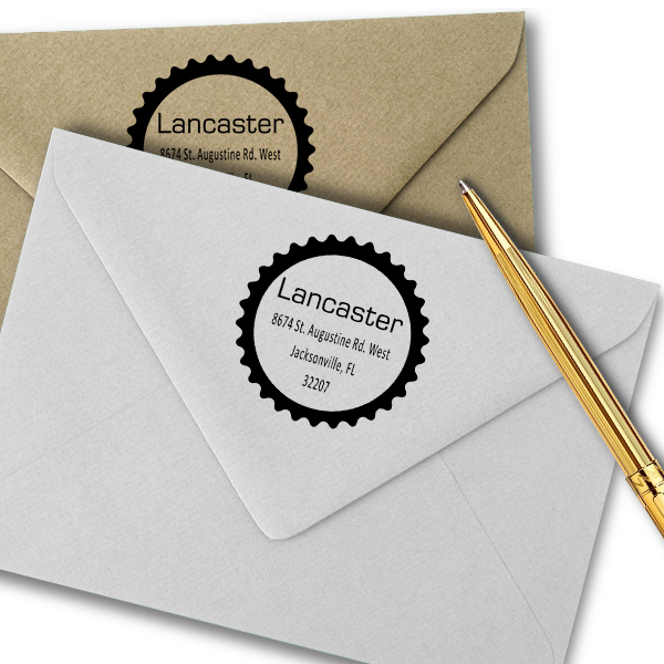 Lancaster Soft Star Border Address Stamp Imprint Example