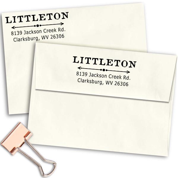 Littleton Deco Rubber Address Stamp Imprint Examples on Envelopes