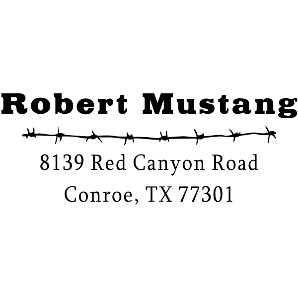 Mustang Barbed Wire Return Address Stamper