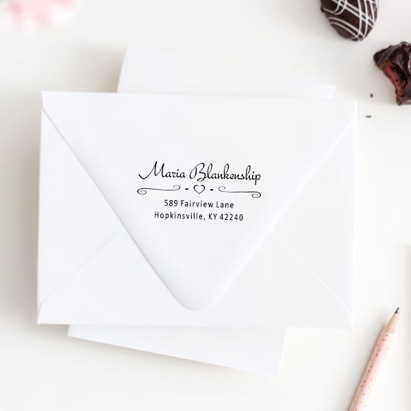 Blankenship Heart Deco Address Stamp Imprint Examples on Envelopes